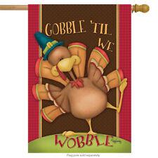 """Gobble Til We Wobble Thanksgiving House Flag Humor 28"""" x 40"""" Briarwood Lane"""