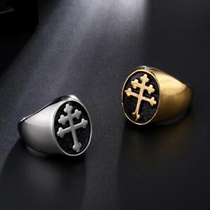 Magnum PI Cross of Lorraine Stainless Steel Metal Ring Knights Templar Crusader