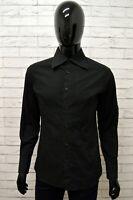 Camicia DANIELE ALESSANDRINI Uomo Taglia Size L Maglia Shirt Cotone Slim Nero