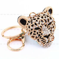 New Rhinestone Leopard Keyring Charm Pendant Purse Bag Key Ring Chain Keychain