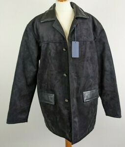 AC Made in Italy Mens Black Faux Suede & Leather Detail Jacket XL