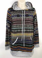 Womens Hoodie Sweater Knit Top Norwegian Tribal Ski Boho Small Shirt Pullover