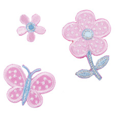 VAT Sewing Iron Sew on Motif Craft Factory Patch Colourful Pink Flowers