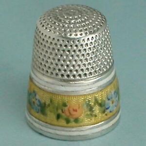 Vintage 3 Band Enameled Roses Sterling Silver Thimble * Circa 1920