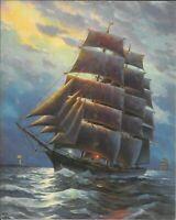 A. Cucchi, Sailing Ship Ocean Light House, Salesman Sample Calendar Print 1940's