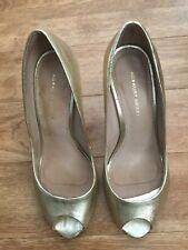 Kurt Geiger Leather Gold Peep Toe Ladies' High Heels - Size UK6/EUR39