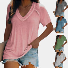 Women Casual Tunic Loose Plus Size Blouse V-neck Short-sleeve Solid T-shirt Tops