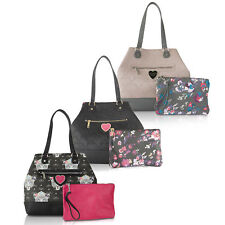 Betsey Johnson Snap Trap Tote Handbag With Pouch Purse Shoulder Bag
