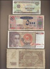 Circulated 4 Notes - Vietnam, Lebanon, Yugoslavia, Austria (88)