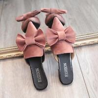 Womens Velvet Pointy Toe Sweet Bowknot Casual Flats Stylish Slippers Shoes Mules