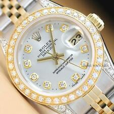 LADIES ROLEX DATEJUST TWO TONE 18K YELLOW GOLD DIAMOND & STEEL QUICKSET WATCH