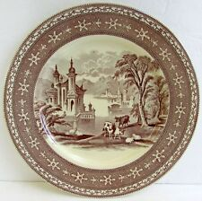 "Antique Maling Newcastle on Tyne Brown Transferware 11"" Plate (s) Venice Scenes"