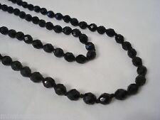 "Vintage Black Faceted Glass Bead 56"" Flapper Length Necklace Mourning Knotted"