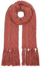 Monsoon Accessorize Diamond Cable Chunky Knit Scarf Pink Bnwt Tassels