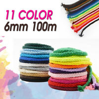 6mm 100m Macrame Rustic Rope Colorful Cotton Twisted Cord String DIY Hand Craft