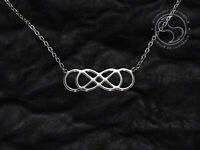 Double Infinity Symbol Pendant Stainless Steel Ouroboros Necklace Logo Sign