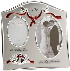 Celebrations 40th Ruby Wedding Anniversary Double Frame Silver Plated
