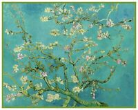 Flowering Almond Branches Teal Background Van Gogh Counted Cross Stitch Pattern