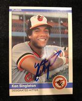 KEN SINGLETON 1984 FLEER AUTOGRAPHED SIGNED AUTO BASEBALL CARD 21 ORIOLES