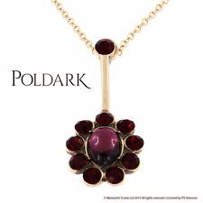New St Justin Poldark Demelza Bronze Garnet Red Crystal Flower Pendant Necklace