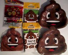 POOP EMOJIONS Emoji Birthday Party Supply Kit w/Invitations & Balloons