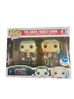Funko Pop! HEROES The Joker & Harley Quinn Metallic 2 Pack FYE Exl box flaw