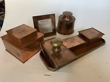 Vintage Copper Desk Set With Calendar Inkwell Blotter And More