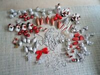 JOB LOT OF RED AND SILVER CHRISTMAS TREE DECORATIONS / BAUBLES