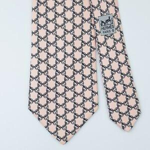 HERMES TIE 5558 MA Horse Bit on Light Pink Classic Silk Necktie