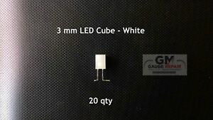 12 volt White LED 3mm Cube for GM Dash Bulbs Switches Built In Resistor 20 QTY