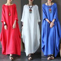 Plus Size Women Boho Beach Loose Casual Cotton Linen Baggy Tunic Long Maxi Dress