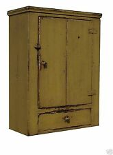 PRIMITIVE WALL HANGING CABINET CUPBOARD PAINTED COUNTRY FARMHOUSE PINE KITCHEN