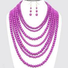 Chunky Purple Pearl Bead Gold Chain Necklace Earring Set Fashion Costume Jewelry