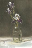 """Bearded Iris, Two Plus One"" Debra Sepos original oil 5"" x 7"" still life crystal"
