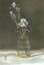 """Bearded Iris, Two Plus One"" Debra Sepos original oil 5"" x 7"" still life crystal"
