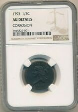 1793 LIBERTY CAP HALF CENT-INCREDIBLY RARE! NGC GRADED AU DETAILS-SHIPS FREE!