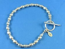 "Sterling Silver 925 Beads Beaded Toggle Clasp Bracelet Best for 7"" Wrist"