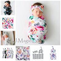 Newborn Baby Infant Swaddle Sleeping Wrap Hat Beanie Headband Set Photoprop