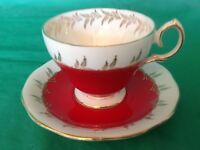 BONE CHINA CUP & SAUCER BY QUEEN ANNE RED WITH GOLD LEAVES AND TRIM