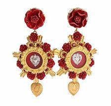 NUOVA DOLCE & GABBANA ORECCHINO ORO CRISTALLO Rose Rosse Cuore Pendente Clip