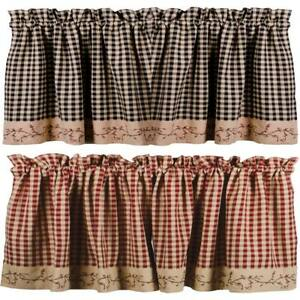 Country Berry Vine Check Valance - Red or Black