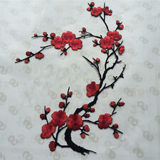 1PC Red Plum Blossom Flower  Iron On Sew Cloth Patch Embroidery Patch Sticker