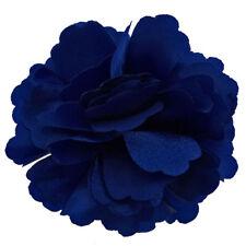 Pince à cheveux barrette broche bibi fleur satin soirée bleu clair roi ou nuit
