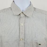 Lacoste Modern Fit Ivory Red Striped Lightweight Men's L/S Button Shirt Sz 40
