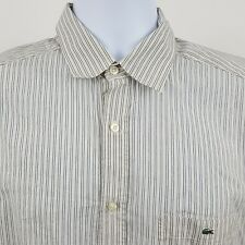 Lacoste Modern Fit Ivory Red Striped Lightweight Men's L/S Button Shirt Sz 40