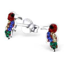 Childrens Kids Girls 925 Sterling Silver Hornbill Ear Stud with Crystal-Gift Box