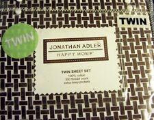 NWT Jonathan Adler Brown White Woven Cotton Sheet Set Happy Home Twin New