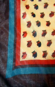 OWL DESIGN MUSLIN SHAWL - great for anyone who loves owls!