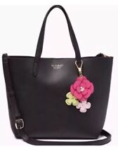 NWT Victoria's Secret Tease Small Black Tote Bag Crossbody + Flower Bag Charm
