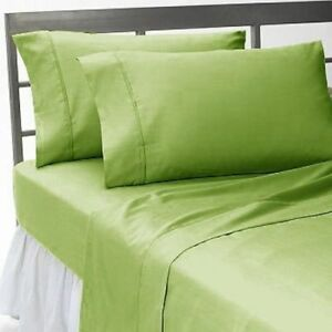 (UK Super King) 4 PC Bed Sheet Set Egyptian Cotton 1000 Thread Count Sage Solid